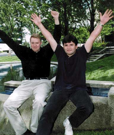 Marc & Tom with hands up